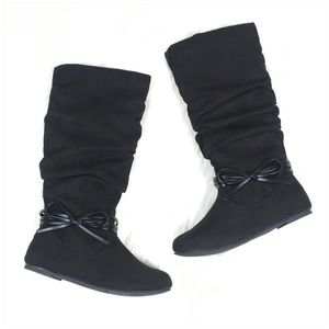 Black Faux Suede Boots Girl Size 11, 1, and 4